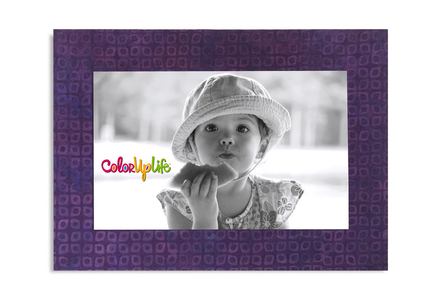 Magnetic Picture Frame - Purple Grid
