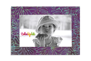 Magnetic Picture Frame - Purple and Teal Floral - ColorUpLife
