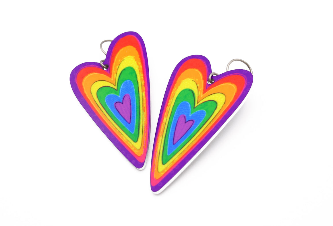 Rainbow Heart Earrings by ColorUpLife