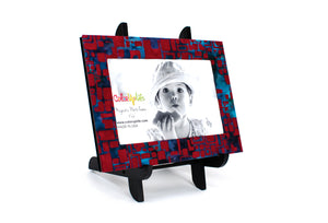 Red Mosaic Magnetic Picture Frame Displayed on a Decorative Easel by ColorUpLife