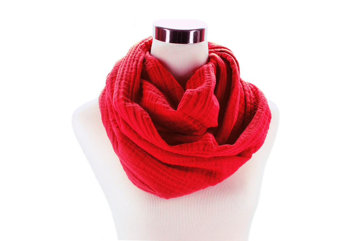 infinity scarf - cotton double gauze - red - ColorUpLife