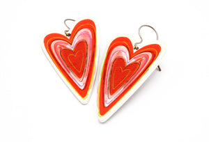Red and Off White Heart Earrings by ColorUpLife