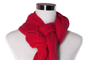 cotton double gauze scarf up-close image - scarlet red - ColorUpLife