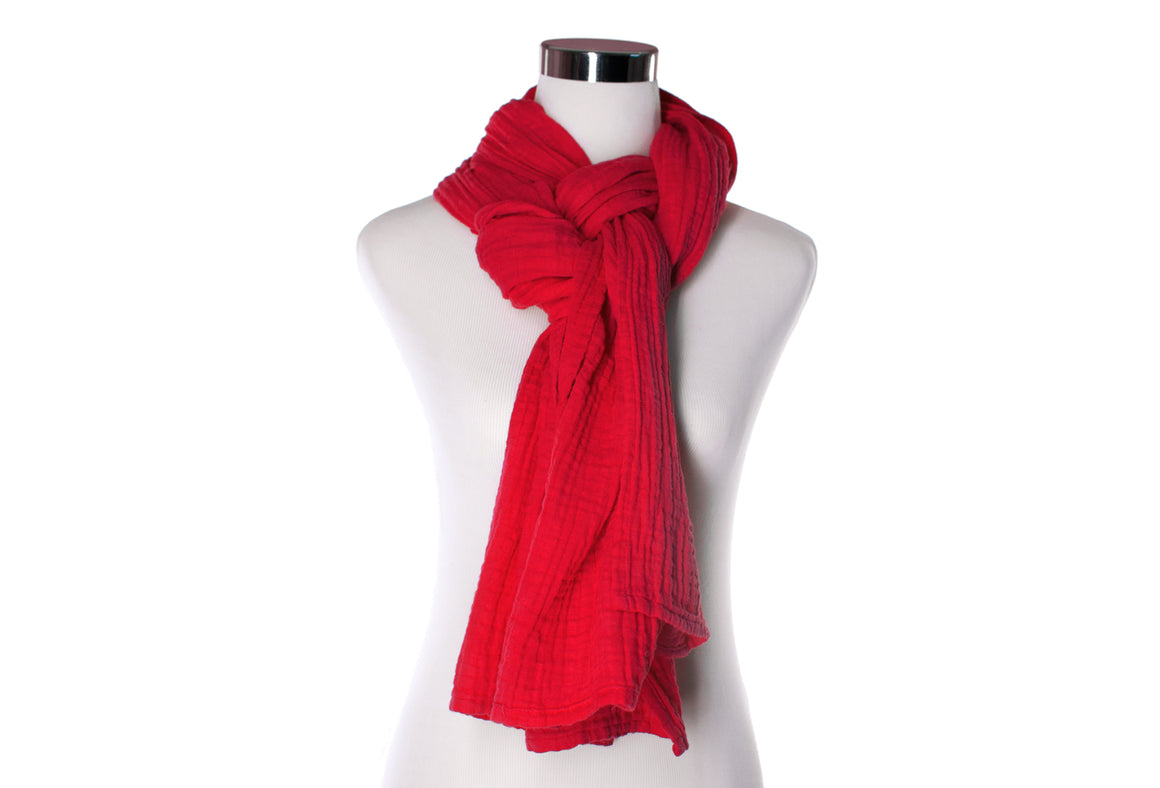 cotton double gauze scarf - scarlet red - ColorUpLife