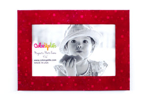 Red Squares Magnetic Photo Frame by ColorUpLife