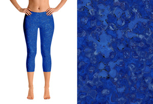 capri leggings - blue - reef style - front view with swatch - ColorUpLife