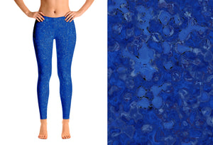 designer leggings - blue - reef style - front view with swatch - ColorUpLife