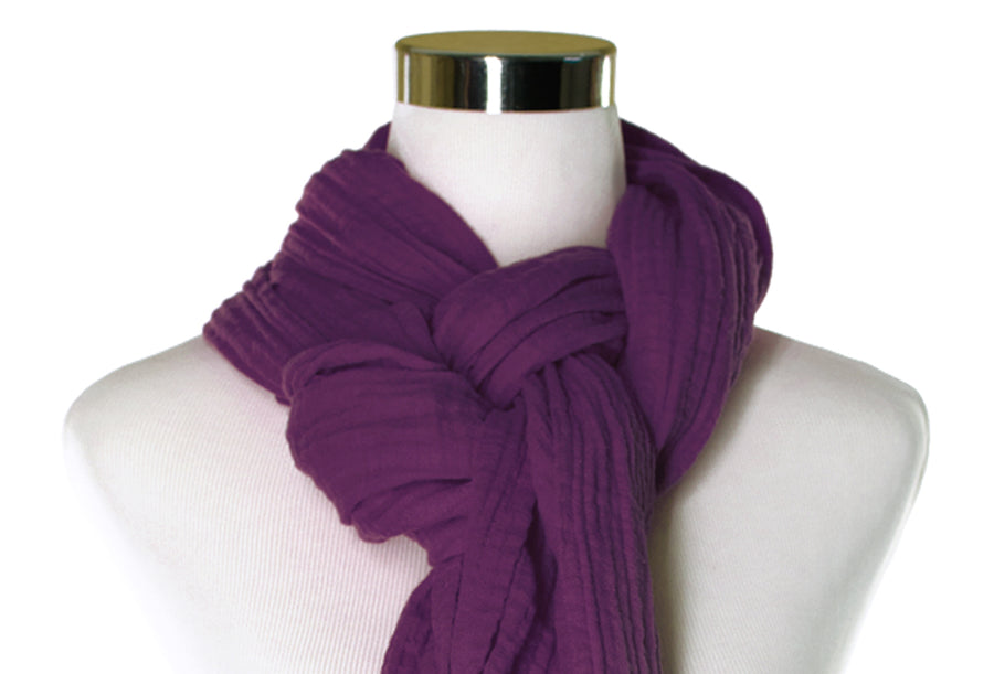 Royal Purple Cotton Double Gauze Scarf by ColorUpLife