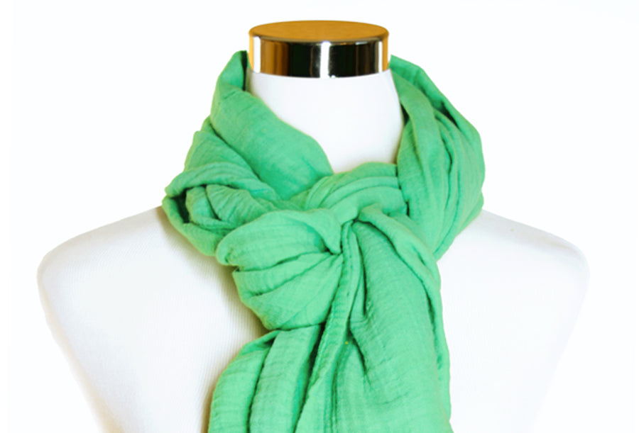 Seafoam Cotton Double Gauze Scarf by ColorUpLife