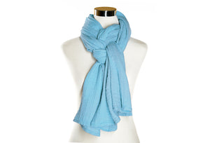 Sky Blue Cotton Double Gauze Scarf by ColorUpLife