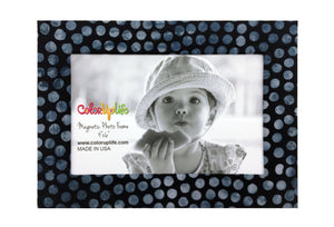 Slate Gray Dots Magnetic Photo Frame by ColorUpLife