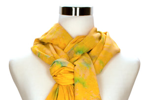 Sunny Yellow Batik Rayon Scarf by ColorUpLife