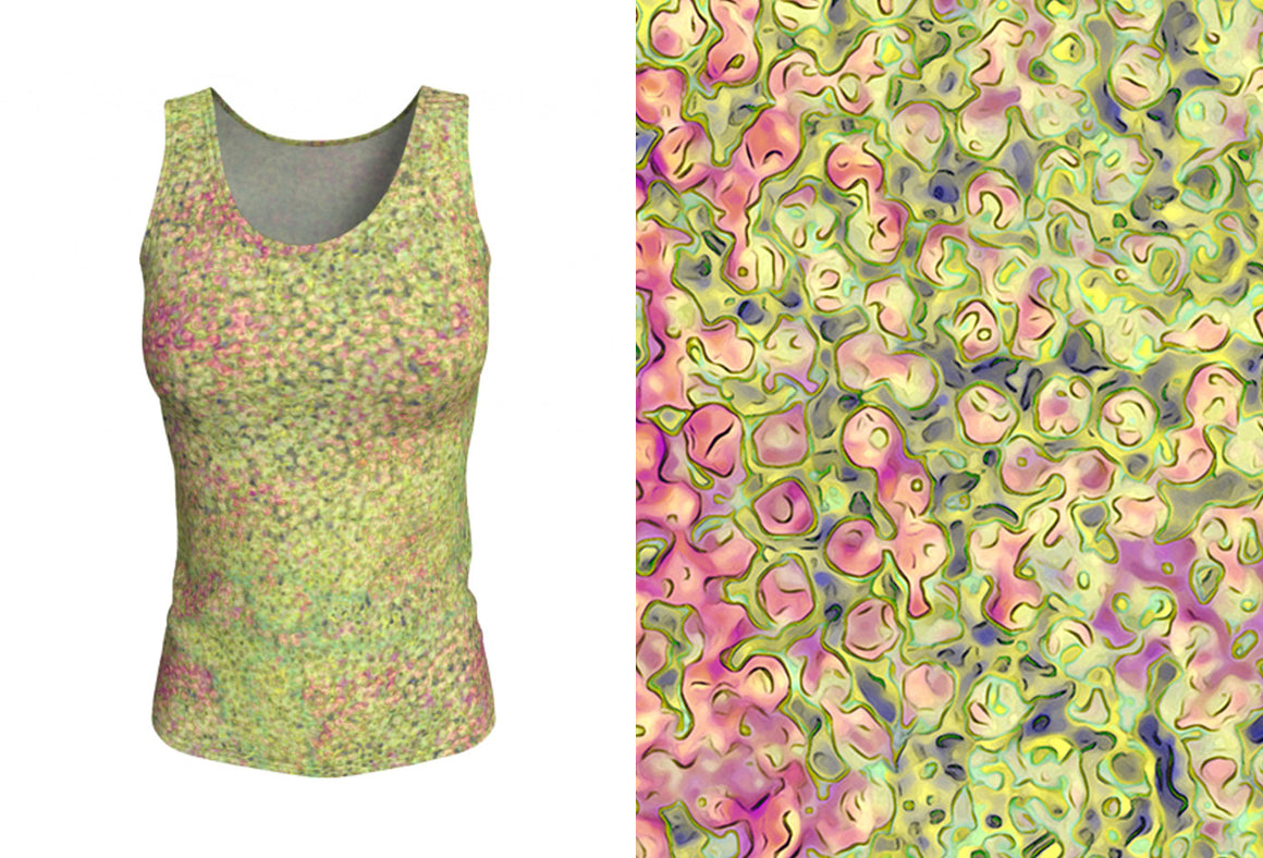 fitted tank - green - sweet pea style - front view with swatch - ColorUpLife
