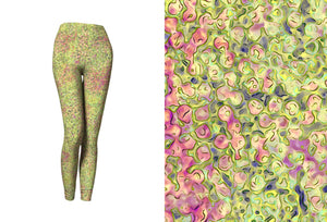 yoga leggings - green - sweet pea style - front view with swatch - ColorUpLife