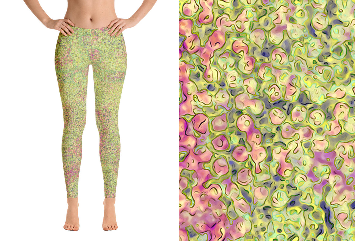 leggings - green - sweet pea style - front view with swatch – ColorUpLife