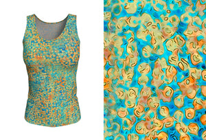 fitted tank- turquoise - sweet pea style - front view with swatch - ColorUpLife