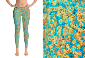 leggings - turquoise -sweet pea style - front view with swatch – ColorUpLife