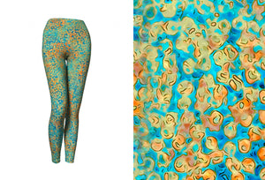 yoga leggings - turquoise - sweet pea style - front view with swatch - ColorUpLife