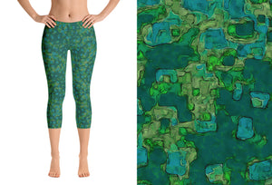 capri leggings - teal - be square style - front view with swatch - ColorUpLife