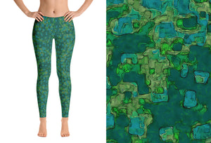 leggings - green - be square style - front view with swatch – ColorUpLife
