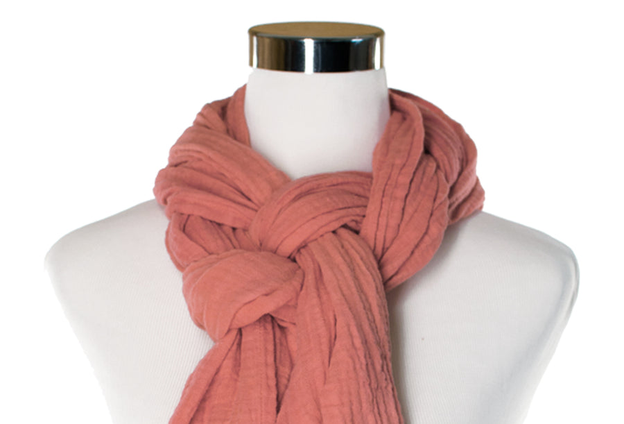 Cotton Double Gauze Scarf - Terracotta