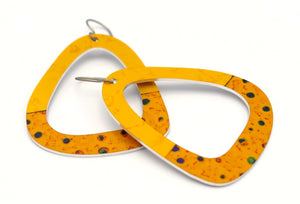 Yellow Triangle Party Dot Earrings by ColorUpLife