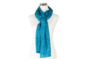 Rich Turquoise Batik Rayon Scarf by ColorUpLife