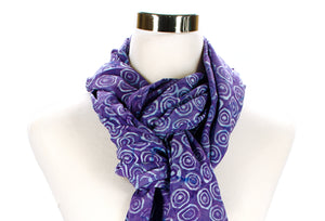 batik rayon scarf closeup - violet and blue - circle pattern - ColorUpLife