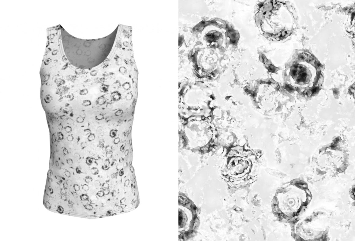 fitted tank - black and white - watercolor circles style - front view with swatch - ColorUpLife