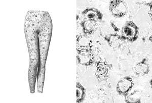Yoga Leggings - Compression Fit - Black and White - Watercolor Circles