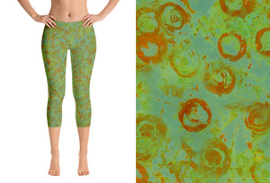 capri leggings - green - watercolor circles style - front view with swatch - ColorUpLife