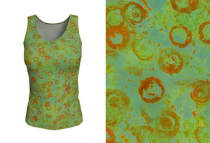fitted tank - green - watercolor circles style - front view with swatch - ColorUpLife