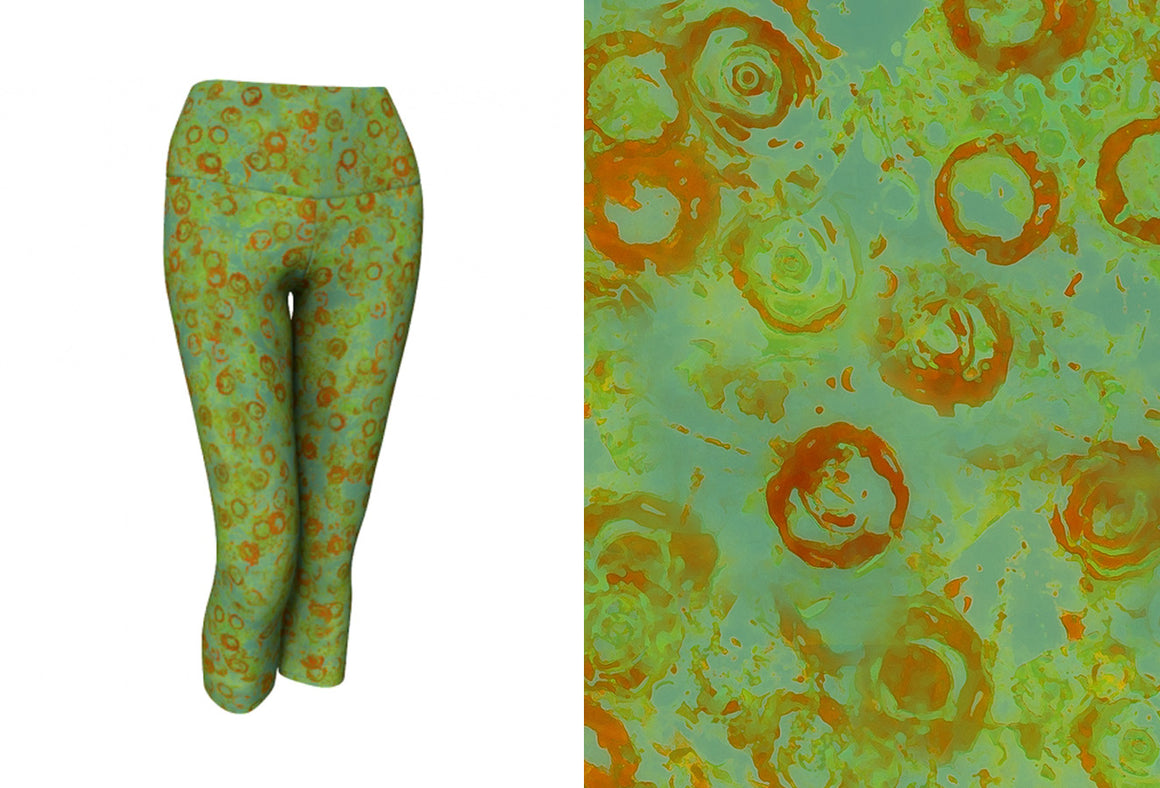 yoga capris - green - watercolor circles style - front view with swatch - ColorUpLife