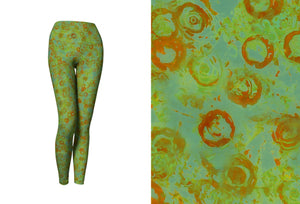 yoga leggings - green - watercolor circles style - front view with swatch - ColorUpLife