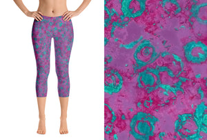 capri leggings - plum - watercolor circles style - front view with swatch - ColorUpLife