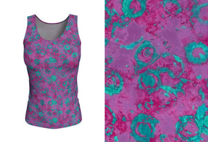 fitted tank - plum - watercolor circles style - front view with swatch - ColorUpLife