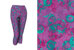 yoga capris - plum - watercolor circles style - front view with swatch - ColorUpLife