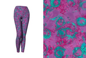 yoga leggings - plum - watercolor circles style - front view with swatch - ColorUpLife