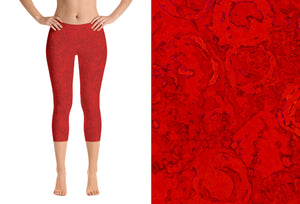 capri leggings - red - watercolor circles style - front view with swatch - ColorUpLife