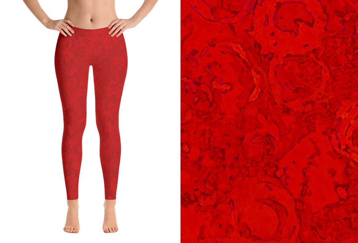 leggings - red - Watercolor Circles style - front view with swatch – ColorUpLife
