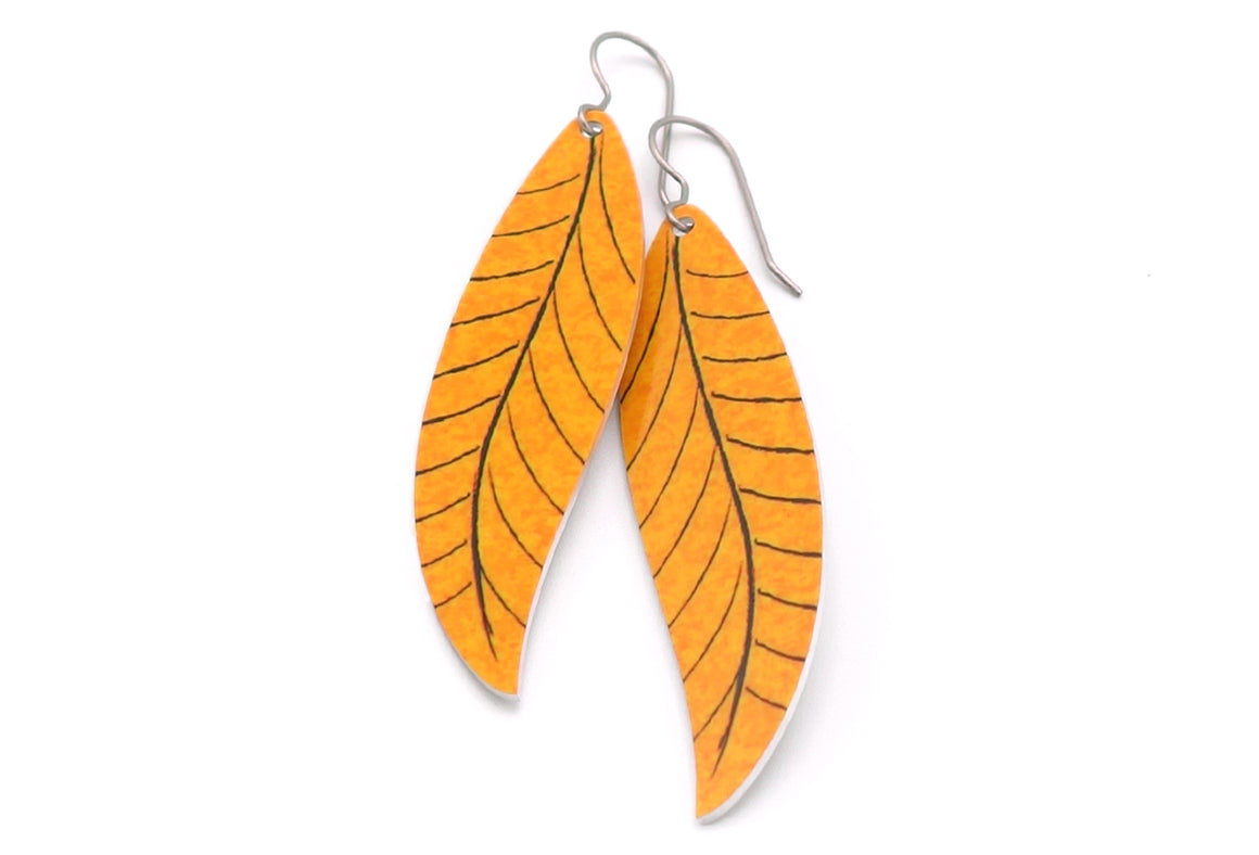 Burnt Orange Willow Leaf Earrings by ColorUpLife