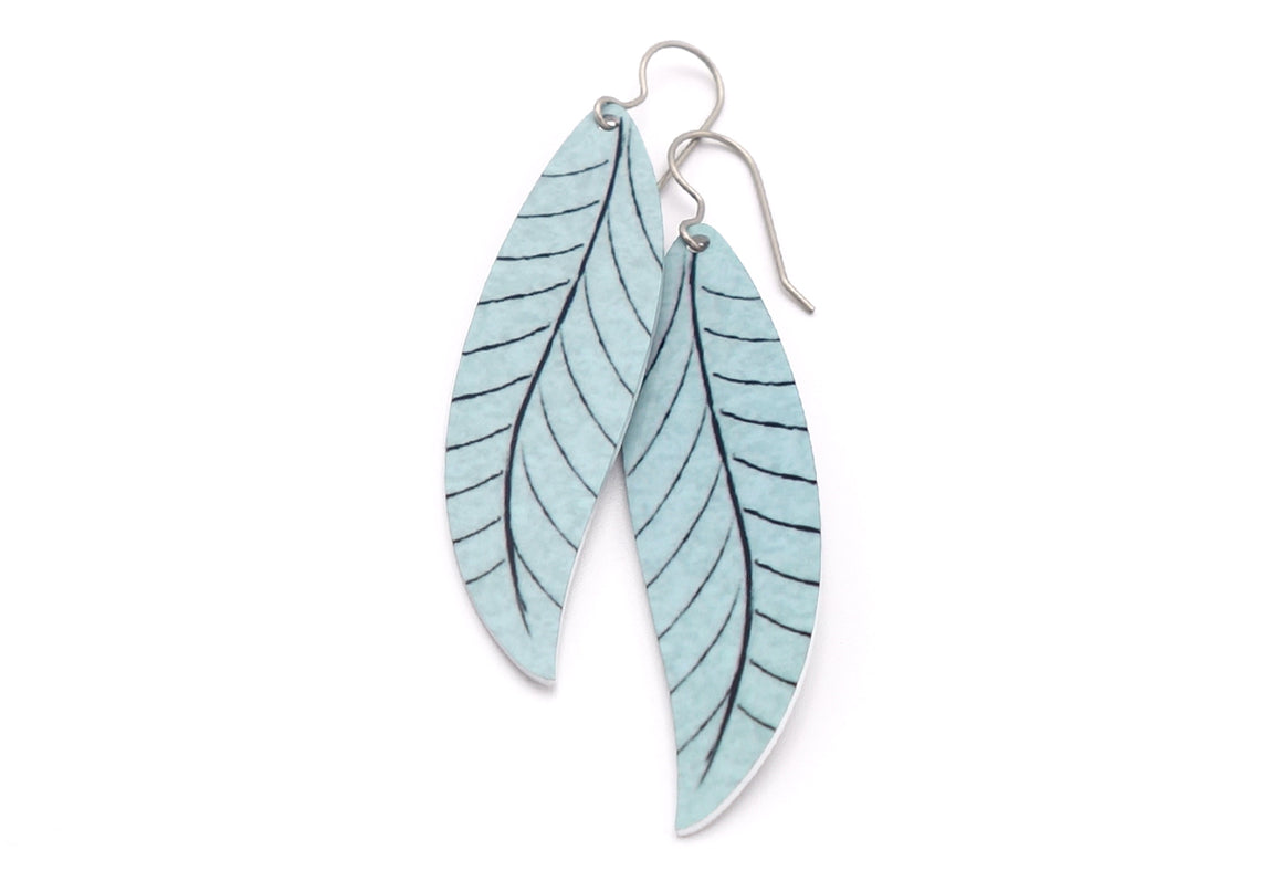 Gray Willow Leaf Earrings by ColorUpLife