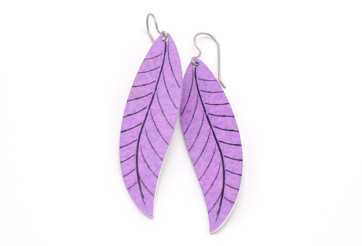 Lavender Willow Leaf Earrings by ColorUpLife
