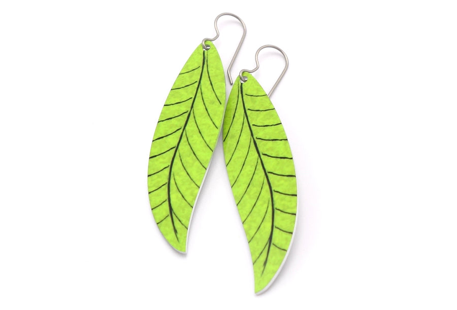 Lime Willow Leaf Earrings by ColorUpLife