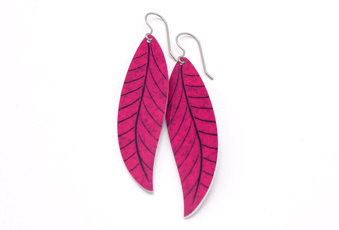 Magenta Willow Leaf Earrings by ColorUpLife