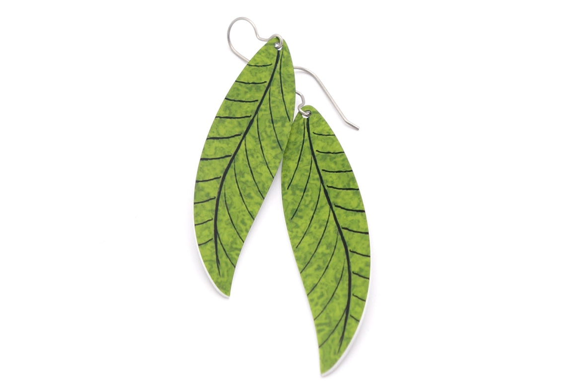 Olive Willow Leaf Earrings by ColorUpLife