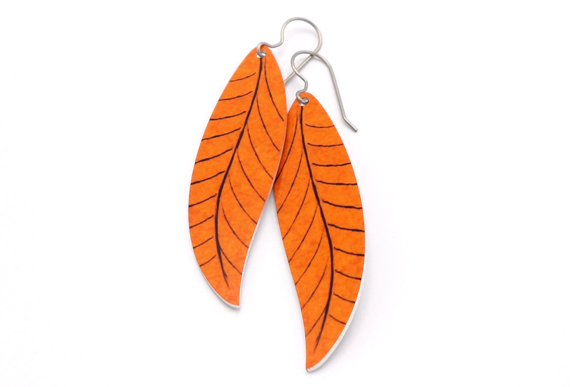 Orange Willow Leaf Earrings by ColorUpLife