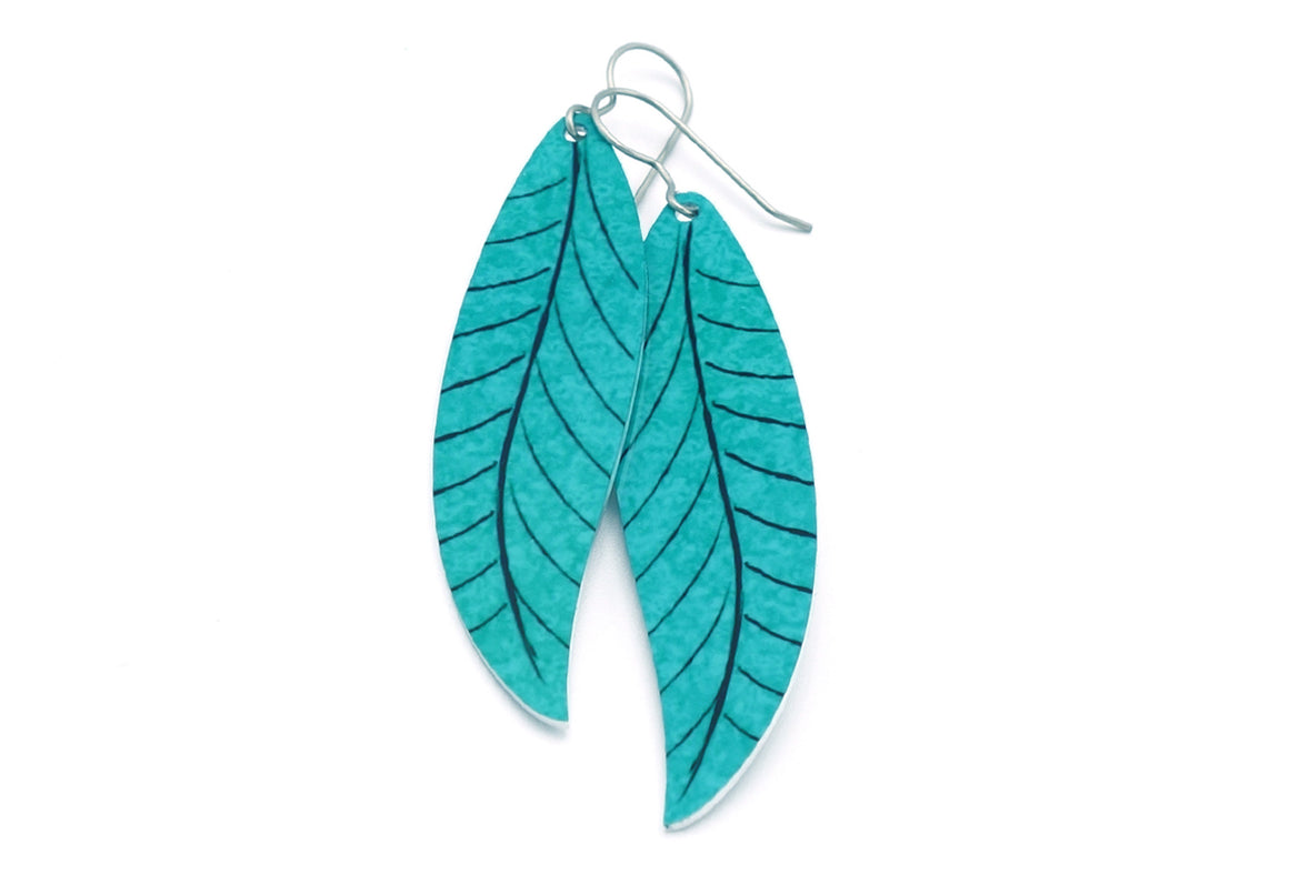 Turquoise Willow Leaf Earrings by ColorUpLife