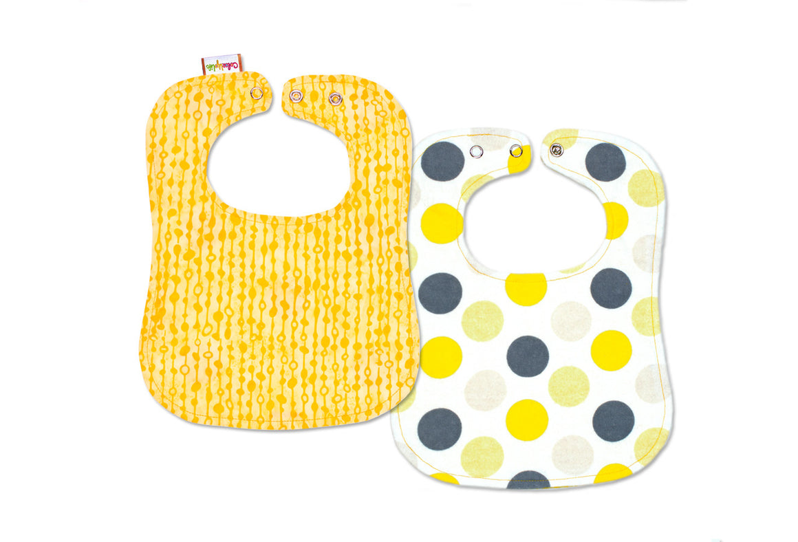 Reversible Bib - Gray and Yellow Dot