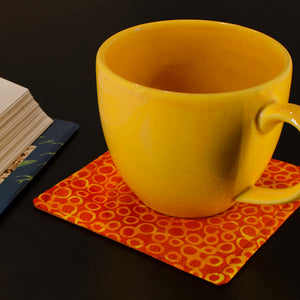 Batik Mug Mats - Orange and Yellow